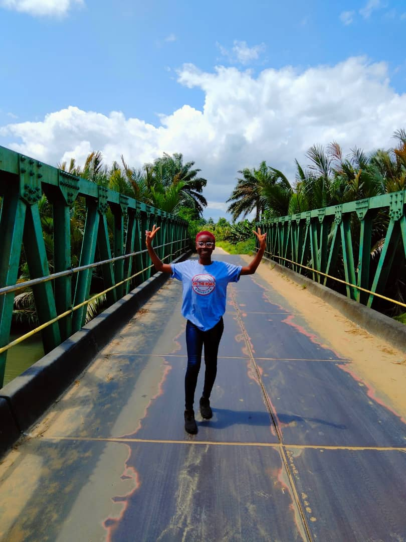Inemesit Solomon on the German bridge said to have been builta at Ikot Abasi in the early 1900s